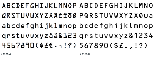 ocr-a und ocr-b